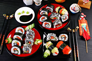 Картинки Морепродукты Суши Тарелка Еда