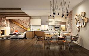 Обои Интерьер Кухня Дизайн Стол Стулья Потолок фото