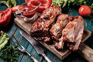 Фото Мясные продукты Ножик Кетчуп Еда