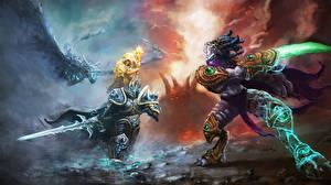 Обои Heroes of the Storm World of WarCraft Битвы Магия Драконы Воители Мечи Arthas, Zeratul Игры Фэнтези фото