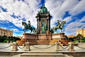 Фотография Австрия Памятники Вена Облака Maria Theresa Square Города