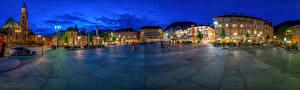 Обои Италия Дома Вечер Улица Уличные фонари Городская площадь Bolzano Города