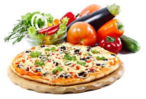 Картинки Быстрое питание Пицца Овощи Помидоры Перец Белом фоне Еда