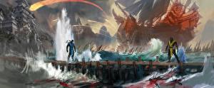 Корабли Вода Mortal Kombat Ниндзя Двое Sub-Zero, Scorpion Игры