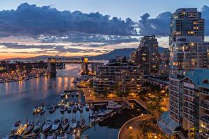 Фотография Дома Вечер Причалы Канада Океан Мосты Катера Ванкувер Облака Города