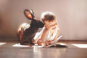Картинка Кролики Мальчики Майка Дети Животные