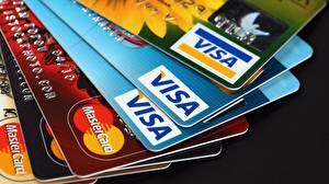 Обои Крупным планом plastic Visa credit cards фото