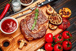 Картинки Мясные продукты Томаты Овощи Кетчуп Пища
