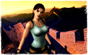Картинка Tomb Raider Tomb Raider Anniversary Великая Китайская стена Лара Крофт Девушки 3D_Графика