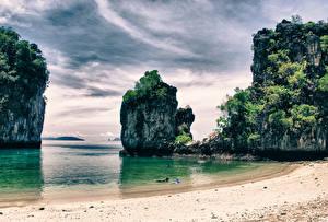 Картинки Таиланд Берег Небо Тропики Скала