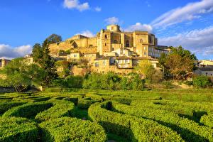 Картинка Франция Замок Парки Кусты Chateau de Grignan Города