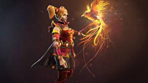 Фотографии Луна Воители DOTA 2 Phoenix Феникс Рыжая Игры Девушки