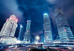 Обои Шанхай Китай Здания Небоскребы Дороги Ночные Города