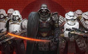 Обои Звездные войны Солдаты Доспехи Шлем Мечи Stormtroopers, Darth Vader Фэнтези