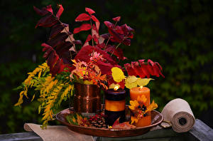 Картинка Осенние Натюрморт Свечи Листья Природа