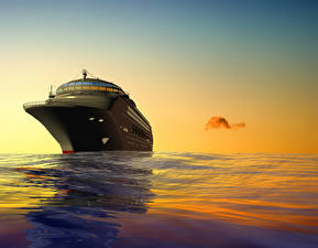 Картинки Корабли Море Круизный лайнер Рассветы и закаты 3D Графика