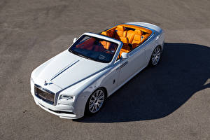 Обои Rolls-Royce Белый Кабриолет Сверху 2016 Spofec Dawn Автомобили фото