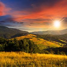 Обои Пейзаж Рассветы и закаты Поля Небо Осень Солнце Природа фото