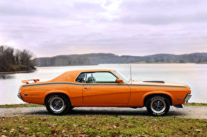 Фотографии Ретро Оранжевый Сбоку 1970 Mercury Cougar Eliminator Машины