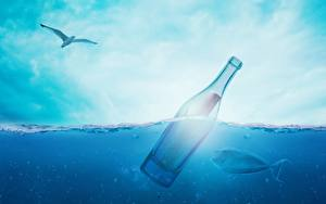 Картинки Чай Небо Вода Бутылка Природа
