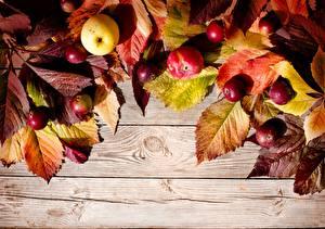 Обои Осень Яблоки Доски Листья Природа фото