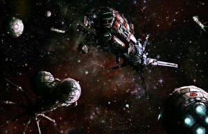 Обои Орбитальные станции Корабли Фэнтези Космос фото