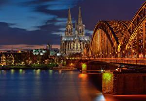 Фото Мост Речка Германия Кёльн Ночью