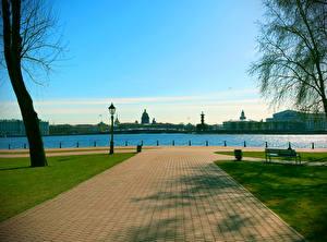 Картинки Санкт-Петербург Россия Тротуар Набережная Peter and Paul Fortress Города