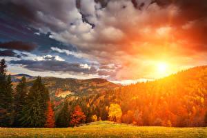 Фотография Времена года Осенние Леса Рассветы и закаты Пейзаж Облака Природа