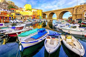 Фото Франция Мост Дома Катера Лодки Марсель Города