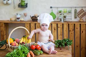 Фотографии Овощи Фрукты Младенцы Повары Корзина Смотрит ребёнок