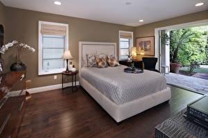 Обои Интерьер Дизайн Спальня Кровать Лампа фото