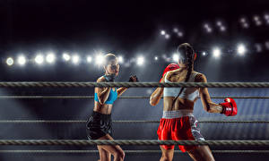 Картинки Бокс Две Униформа Девушки Спорт