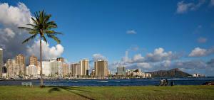 Фотографии Здания Река Небо США Гавайи Пальма Облако Waikiki Honolulu Города
