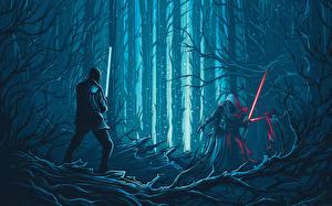 Картинка Звездные войны Звёздные войны: Пробуждение Силы Мечи Капюшон Kylo Ren Фильмы Фэнтези