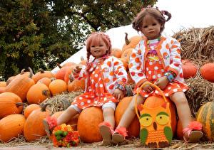Обои Парки Тыква Букеты Кукла Девочка Вдвоем Grugapark Essen Природа