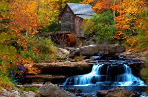 Картинки Штаты Парк Водопады Леса Осенние Водяная мельница Creek Babcock State Park