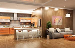 Обои Интерьер Дизайн Кухня Стол Диван Лампа 3D Графика фото