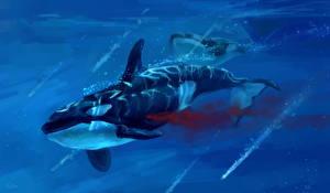 Картинки Подводный мир Рисованные Косатки Кровь Животные