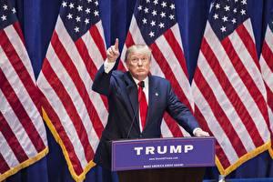 Фотографии Мужчины Штаты Дональд Трамп Флага Костюме Президент Знаменитости
