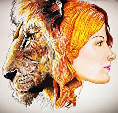 Обои Львы Рыжая Голова Фэнтези фото