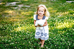 Обои Мишки Девочки Платье Трава Дети фото