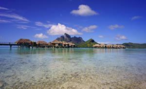 Фото Французская Полинезия Тропики Море Пейзаж Горы Небо Бора-Бора Бунгало
