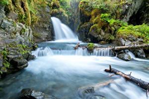 Обои США Водопады Аляска Мох Скала Virgin Falls Природа фото