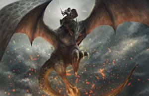 Фото Драконы Воители Крылья Мечи Щит Фантастика