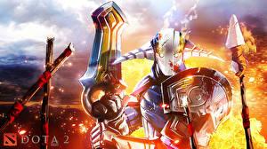 Картинки DOTA 2 Свен Воины Щит Мечи Шлем Броня Игры Фэнтези