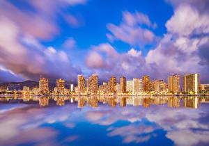Обои Дома Море Небо США Гавайи Облачно Waikiki Honolulu Города