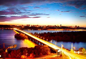 Фотографии Украина Реки Мосты Небо Киев Ночь Уличные фонари
