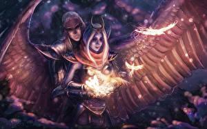 Обои Vengeful Spirit Skywrath Mage Воители Ангелы Магия DOTA 2 Игры Фэнтези фото