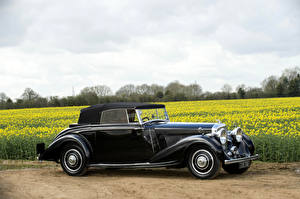 Картинка Бентли Ретро Черный Сбоку 1937 4 ¼ Litre Concealed Head Coupe by Mulliner Автомобили